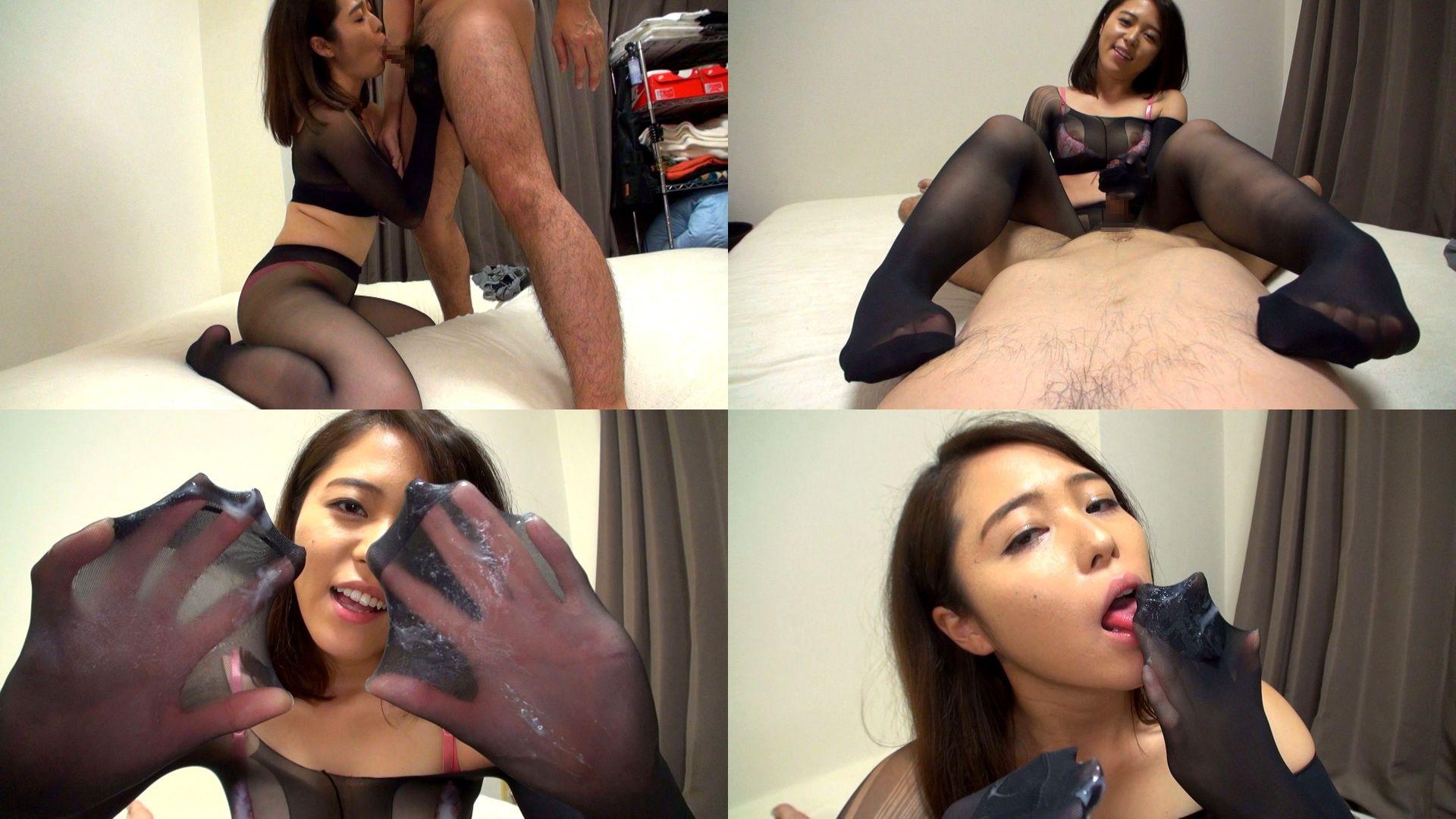 【紅蘭 25歳 ザーメン大好き変態娘】全身パンスト乳首舐め手コキのサンプル画像3